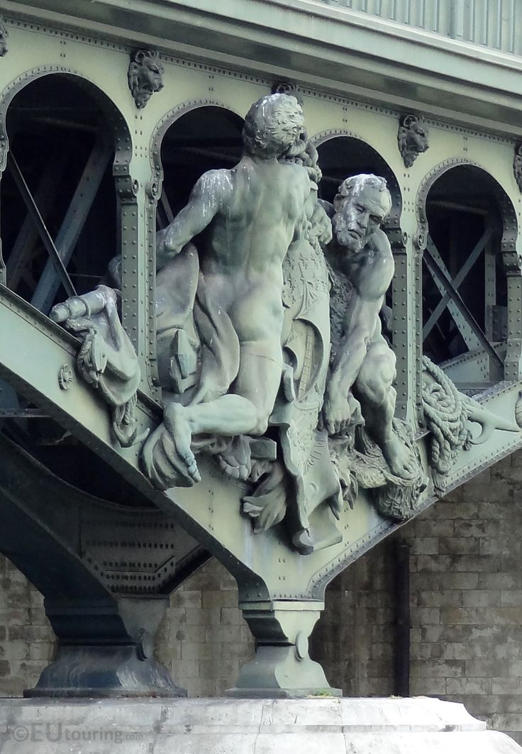 Another sculpture that can be found on the Pont de Bir-Hakeim bridge in Paris is the Boatmen which are seen in this photo, also created by Gustave Miche.  See more http://www.eutouring.com/images_pont_de_bir-hakeim.html