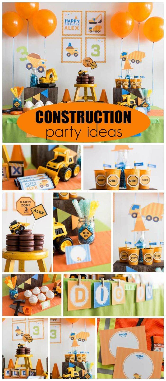 A construction themed boy birthday party with fun treats and decorations! See more party planning ideas at CatchMyParty.com!