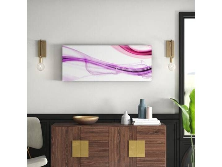 Glasbild High Pink Wave I Kunstdruck Glass Art Painting Prints