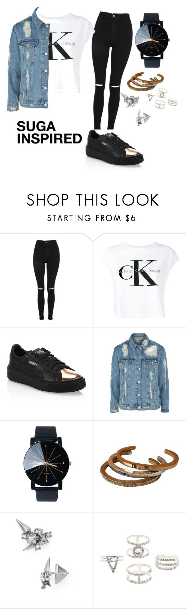"""BTS INSPIRED OUTFITS"" by btsmyhearteu on Polyvore featuring Topshop, Calvin Klein Jeans, Puma, Alexis Bittar and Charlotte Russe"