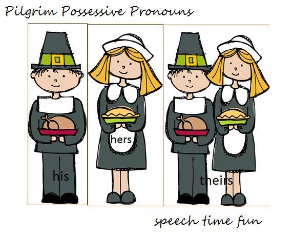 Speech Time Fun: Pilgrim Possessive Pronouns FREEBIE!