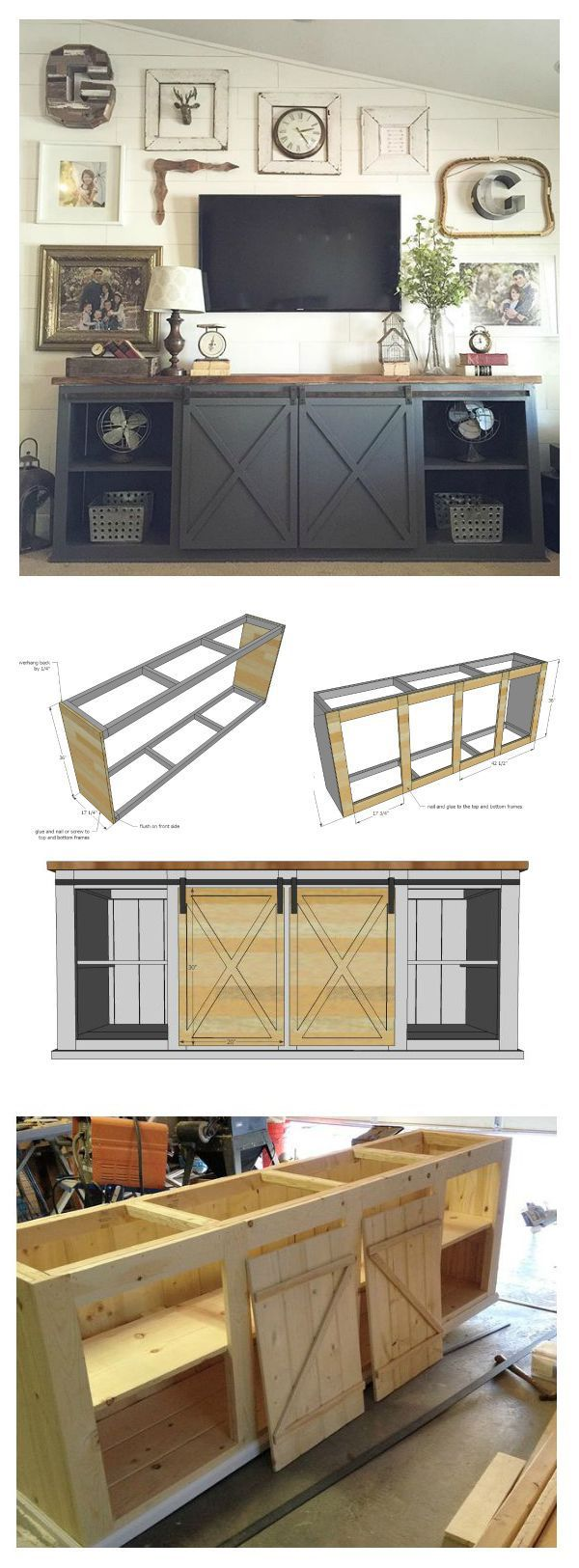 Ana White | Build a Grandy Sliding Door Console | Free and Easy DIY Project and…