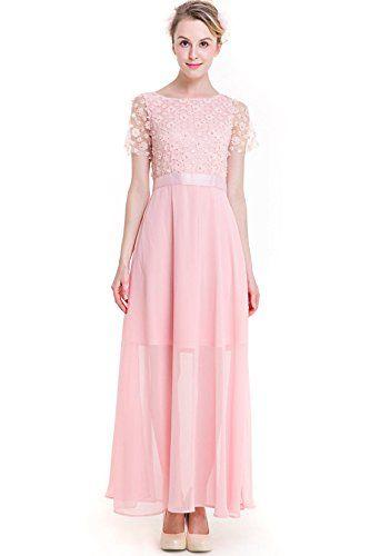 a3367ee1375f KAXIDY Donna Elegante Vestito da Sera Lungo Abbigliamento Vestiti Eleganti  Ragazza Abito Lungo Vestito Rosa