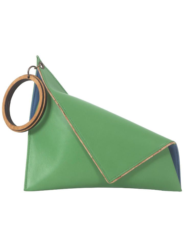 Asymmetrical green clutch with wooden handle