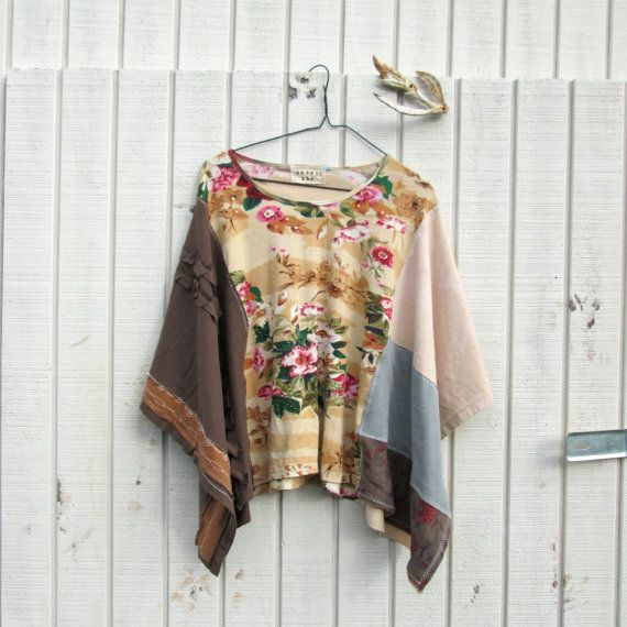 romantic upcycled PatchWork Funky Eco / Shrug / Wrap by CreoleSha