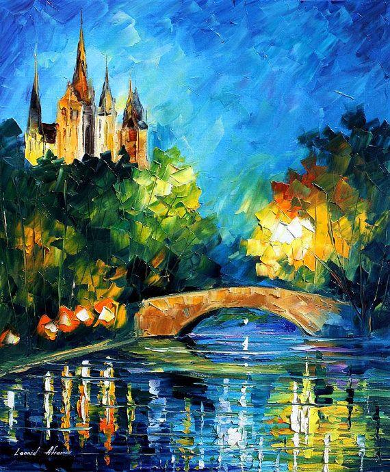 """Puente en el tiempo, espátula azul paisaje pared arte pintura al óleo sobre lienzo de Leonid Afremov. Tamaño: 20 """"X 24"""" pulgadas (50 cm x 60 cm)"""