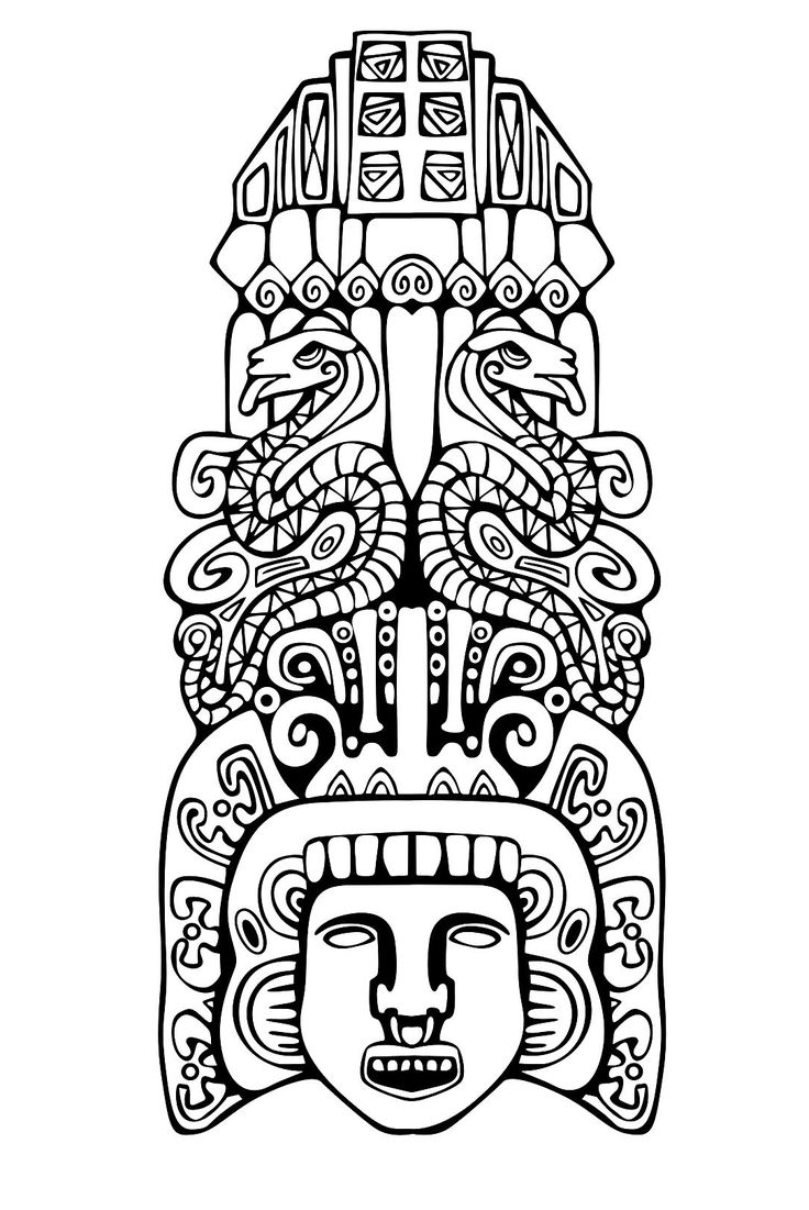 The coloring book project 2nd edition - Free Coloring Page Coloring Adult Totem Inspiration Inca Mayan Aztec