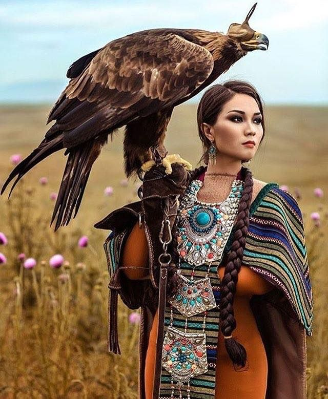 Kazakh beauty as Eagle Hunter. With unique, traditional twist of hair and jewelry.