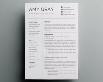 Resume Template Instant Download | CV template + Cover Letter | DIY Printable | Professional and Creative Resume Design |