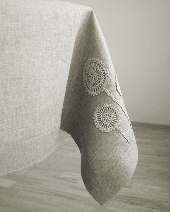 Linen tablecloth square/ natural gray linen color fabric with handmade motifs decoration in crochet classic border