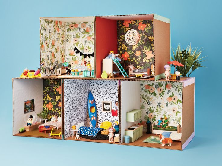 Banish rainy day boredom with a cardboard craft. These dollhouse apartments are fun to build and decorate.
