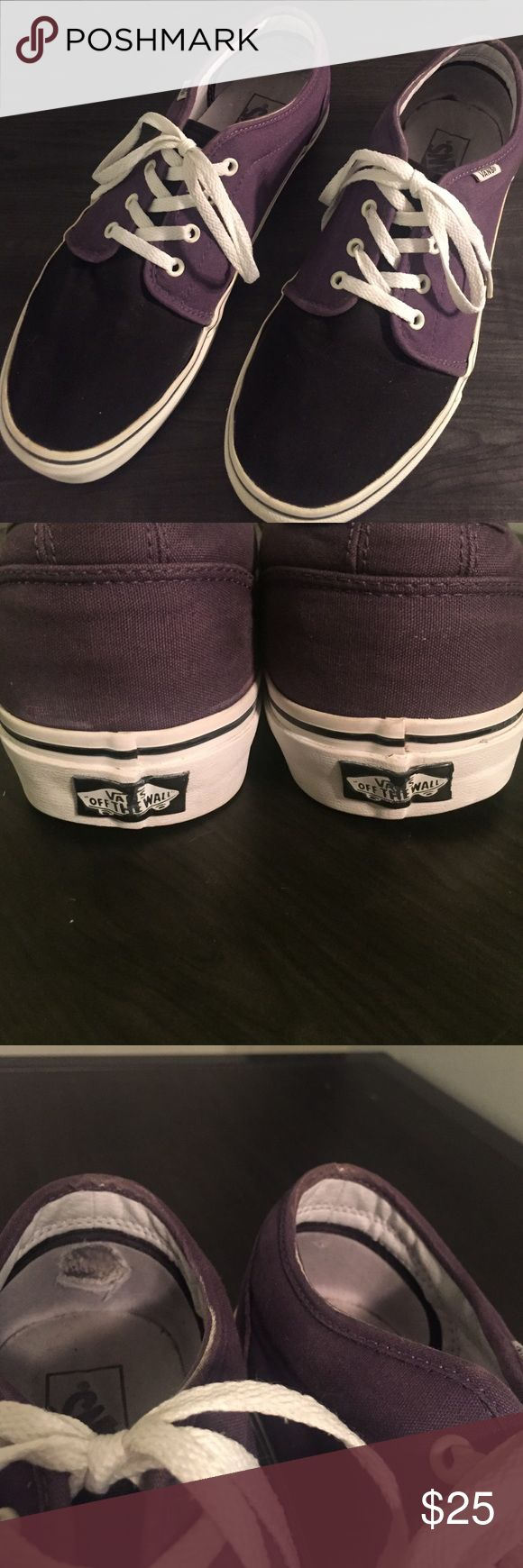 Vans Chukka Low (Black and Purple Two-Toned) Vans Chukka Low (Black and Purple Two-Toned) Guys Size 12. Only worn a handful of times. Outside still in great condition! Right inside heel has some rubbing. Bottom of soles has ZERO wearing! ☺️ I'll consider reasonable offers. Vans Shoes