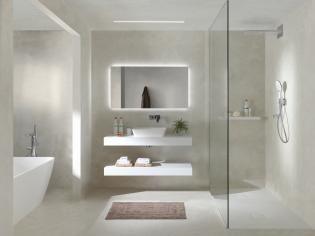 X2O   Balmani Mitra badkamermeubel wit mat met solid surface wastafel / Meuble salle de bain en blanc avec tablette en solid surface. More? Visit www.x2o.be #concrete #bathroom #furniture #design #style