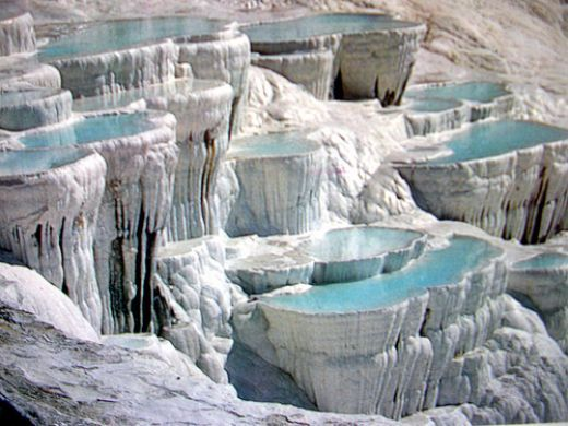 "Pamukkal (""Cotton Castle""), Turkey. Hot-spring waters that cascade down the slopes of Caldag."