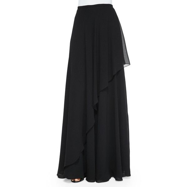 Rickie Freeman For Teri Jon Ruffle Draped Maxi Skirt (1,845 EGP) ❤ liked on Polyvore featuring skirts, maxi skirt, black, button skirt, flounce skirt, long flounce skirt and ruffle maxi skirt