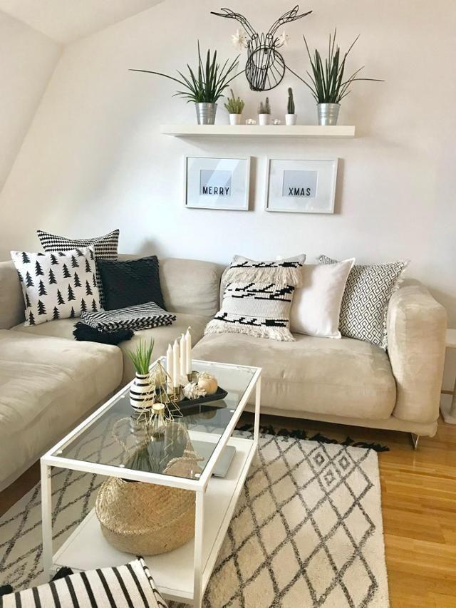 Merry Xmas Weihnachten Beige Sofa Living Room Living Room Sofa