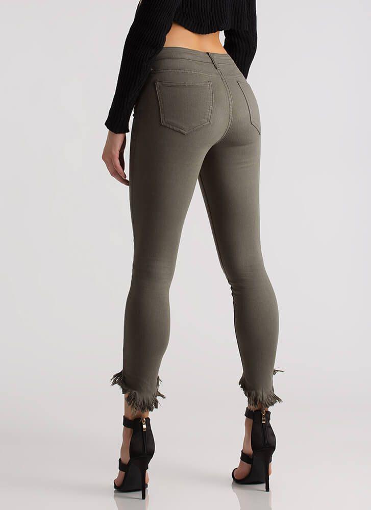 Take A Bite Cropped Fringed Skinny Jeans OLIVE