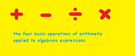 Algebraic Expression: An expression consisting of arithmetic numbers, letters (used as symbols) and operation signs is called an Algebraic Expression Examples: 2x + 3y , -9p + 2r,  x2 + 5x + 6,  a3 + b3 + 3ab2 + 3a2b.  Variable: A symbol in Algebra that can be plugged in with different numerical values (numbers) is called a variable In 5p + 6q + r, the letters (symbols) p,q are called Variables. Terms The parts in an algebraic expression connected by the operation signs + or — are called…