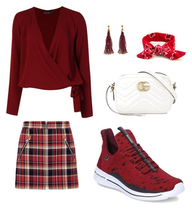 """""""red day"""" by titishanggesti98 on Polyvore featuring rag & bone, Boohoo, Gucci, Nocturne and Skechers"""
