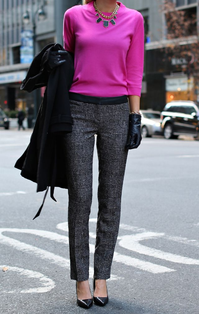 Pants: Express | Sweater: J. Crew | Coat: InWear | Leather/Gold Necklace: House of Harlow 1961 | Rings: Gorjana | Shoes: Ralph Lauren | Gloves: Coach | Polish: Essie - Berry Naughty