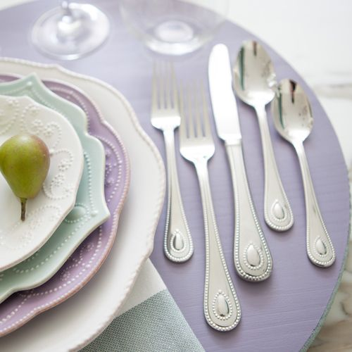Flatware as a focal point | Use Lenoxu0027s shimmering high-polished stainless steel flatware & 24 best Future Home images on Pinterest | Lenox french perle ...