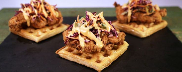 Chicken with waffles  and slaw from the Chew (Buffalo ranch just has cayenne added)