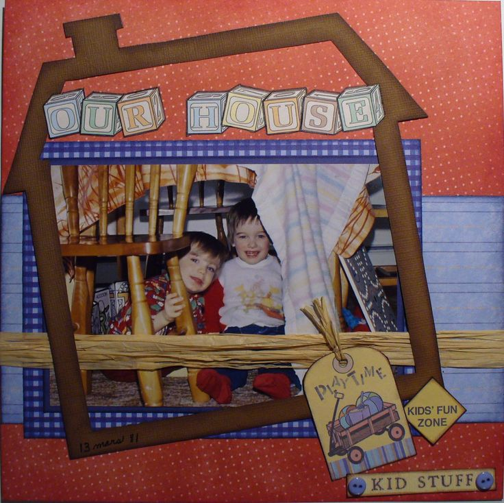 I made this layout for my son's album. With his friend Jason they liked playing under the table as if it were their house. I'm entering it in the Lasting Memories challenge LM #231 - Partner's in Crime!