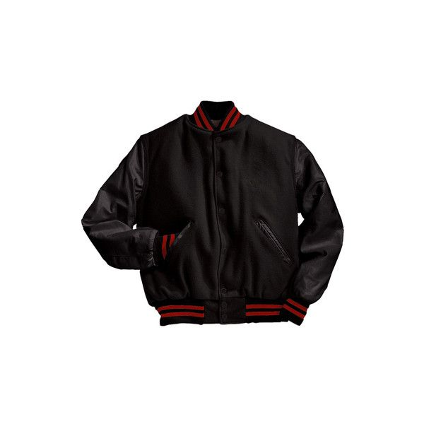 Solid Black Varsity Letterman Jacket with Scarlet Red Stripes ($200) ❤ liked on Polyvore featuring outerwear, jackets, college jacket, letterman jackets, genuine leather jackets, stripe jacket and red jacket