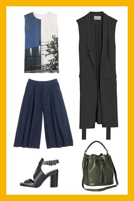 Still not 100% sold on culottes, but I can see their volume and length working with the trench vest.