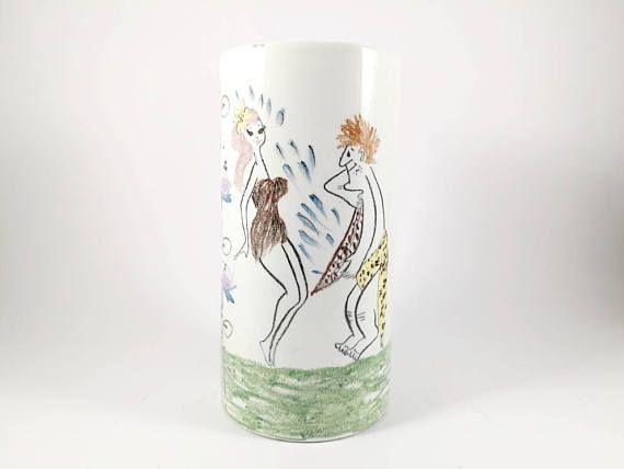 Raro vaso cilindrico QuadrIfoglio Ceramica bianco con