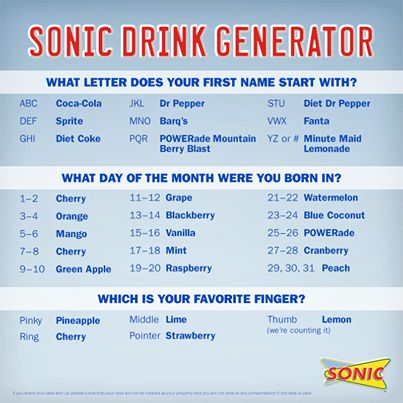 What's is your drink combination at Sonic? Check out our Sonic Drink Generator.
