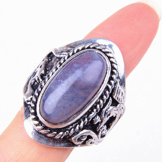 Handmade 925 Sterling Silver Refined Large Dark Purple Agate Gemstone Ring M1694