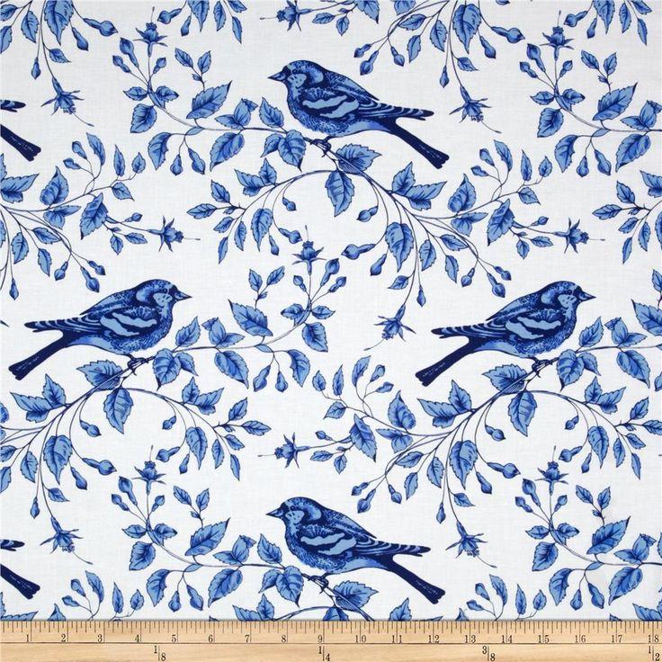 Michael Miller Blue & White Bird On The Vine Azure