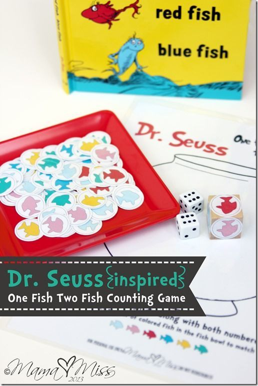 {Dr. Seuss Inspired} One Fish Two Fish Counting Game #drseuss #freeprintable #kidsgames