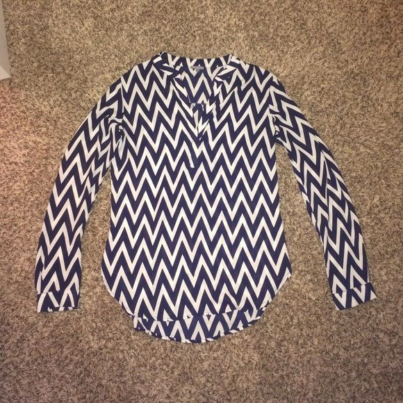 Chevron Top  Long sleeved chevron top from Charlotte Russe. It has more of a silky feeling and is big for a small! Only worn a few times, looks cute with a statement necklace! Feel free to ask questions and negotiate  Charlotte Russe Tops