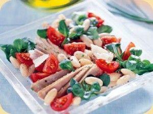 INGRÉDIENTS DE LA SALADE HARICOTS AU THON A LA TOSCANE • 1 petit oignon blanc ou 2 oignons verts, hachés • 800g de haricots de Lima en boite égouttés • 2 tomates moyennes • 1 boite de 185g de thon égoutté • 2 cuillères à soupe de persil plat ciselé • 2 cuillères à soupe d'huile d'olive • 1 cuillère à soupe de jus de citron • 2 cuillères à café de miel liquide • 1 gousse d'ail, écrasée
