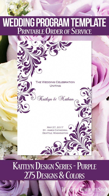 Wedding Program Template Kaitlyn Purple Diy Wedding Programs