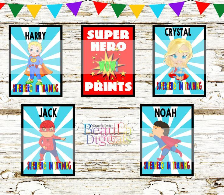 Superhero Wall Decor Print Personalized - Glossy 300dpi Custom A4 or other size