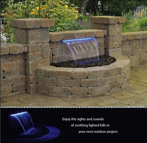 find this pin and more on backyard colorfalls lighted waterfalls for patios and retaining walls - Brick Patio Wall Designs