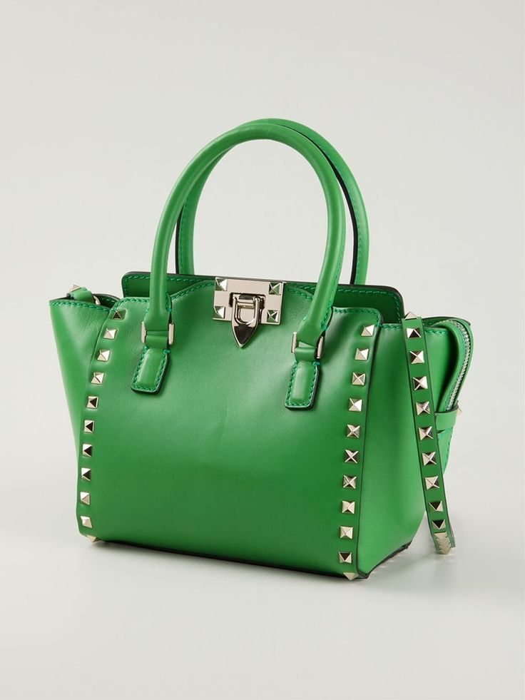 Green calf leather 'Rockstud' trapeze tote from Valentino Garavani