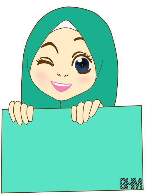Wallpaper Cute Cartoon Muslimah Bunga Hati Freebies Doodle Kenyit2 Hehe Doodle