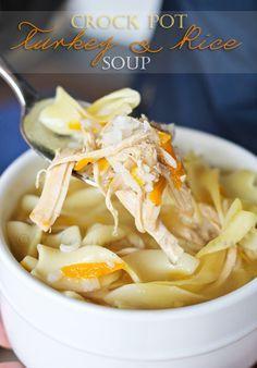 Thanksgiving leftovers? Make this Crock Pot Turkey Rice Soup… YUM! #recipes #soup #turkey
