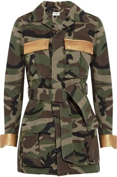 Leather-trimmed printed cotton-gabardine jacketLeather-trimmed printed cotton-gabardine jacket #leatherjacket #covetme #saintlaurent