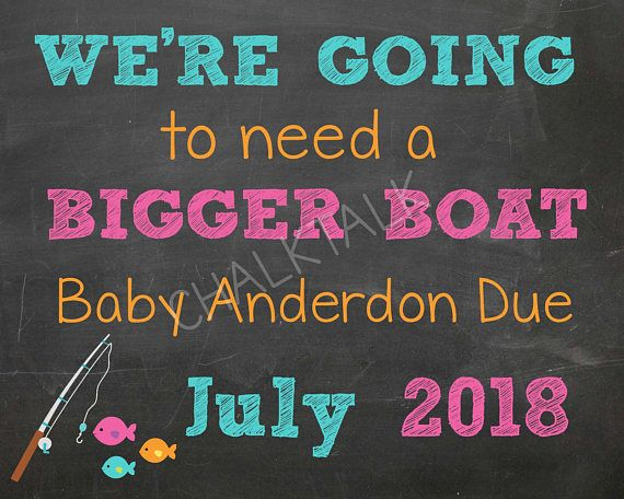Fishing Chalkboard Pregnancy Announcement  Fishing Pregnancy