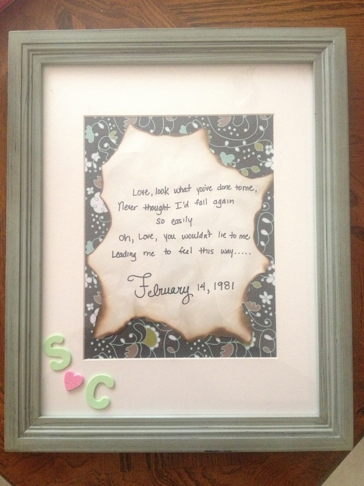 Wedding Anniversary Gift Ideas Diy : Anniversary gift for my parents with the lyrics to their song and ...
