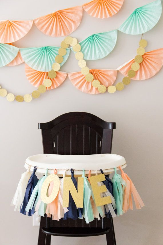 Party Backdrop || Peach, Mint, Navy and Gold Glitter || Tissue Paper Fan Garlands