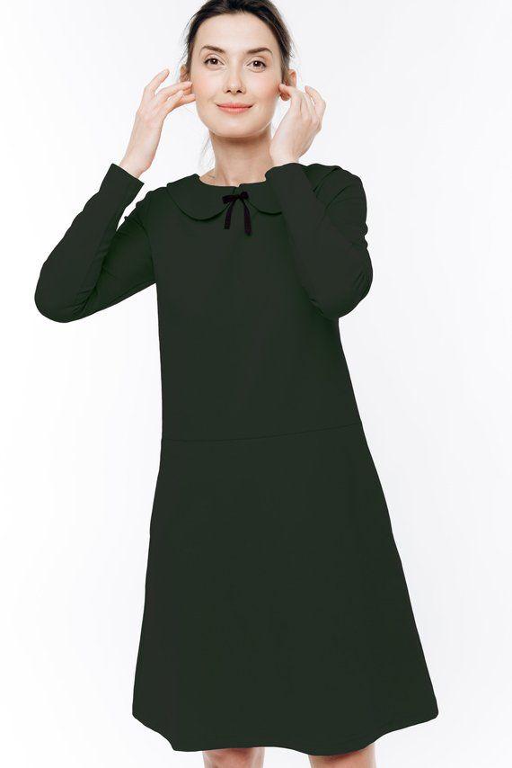 Gray petite dress long sleeve