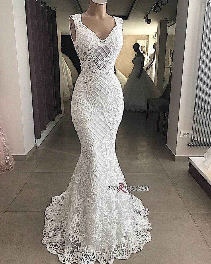 Attractive Sleeveless Mermaid Appliques V-Neck Lace Wedding Dresses Item Code: hh0143