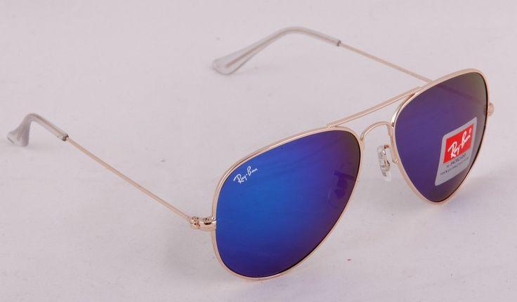 Солнечные очки Ray-Ban Aviator (Авиатор RB 3025) золотистая оправа, синие зеркальные поляризованные стекла хамелеон #19717