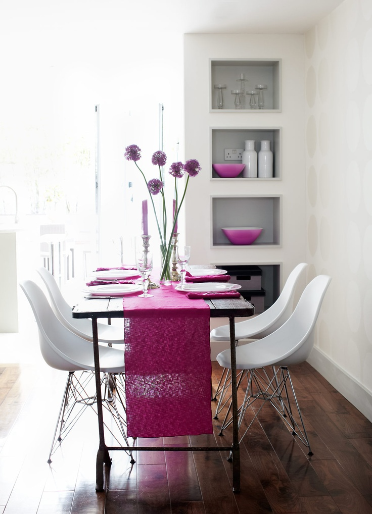 The Graphic Shape Of White Eames Chairs Take Centre Stage While The Fuchsia  Runner   In Woven Linen   Draws The Eye Into The Room   Photo By Stacey Van  ...